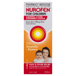 Nurofen For Children 3months – 5years Pain and Fever Relief 100mg5mL Ibuprofen Strawberry 100mL front