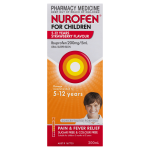 Nurofen For Children 5-12yrs Pain and Fever Relief Concentrated Liquid 200mg5mL Ibuprofen Strawberry 200mL front