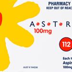Astrix Aspirin Tablets 100mg – 112 Tablets front