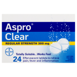 Aspro Clear Pain Relief Aspirin 24 Soluble Effervescent Tablets front