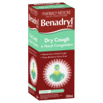 Benadryl PE Dry Cough & Nasal Congestion Non Drowsy Berry Flavour 200mL front side